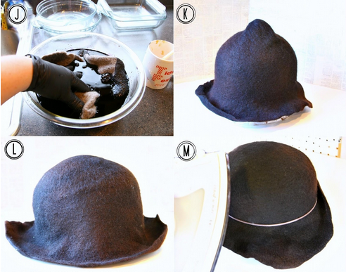 Dyeing a wet felted cloche hat on the Woolery Blog.