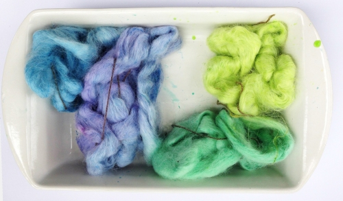 Hand-Dyed Long Color Repeats on Spinning Fiber.