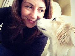 Angela and Audrey Pearl, one of our two studio dogs.