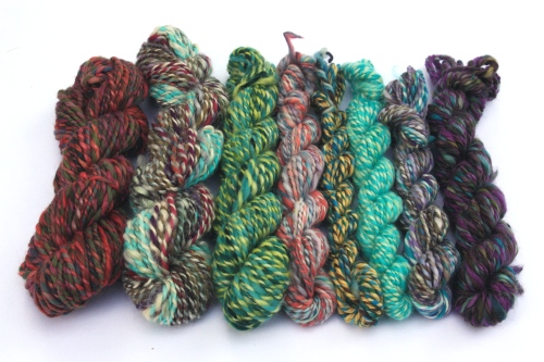 Handspun yarn - all of these projects were made with leftover singles plied together at random!