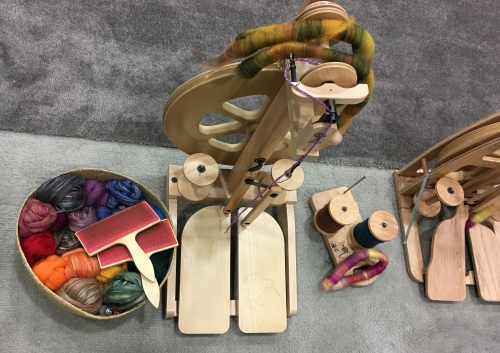 Ashford spinning wheel, fiber and hand carders