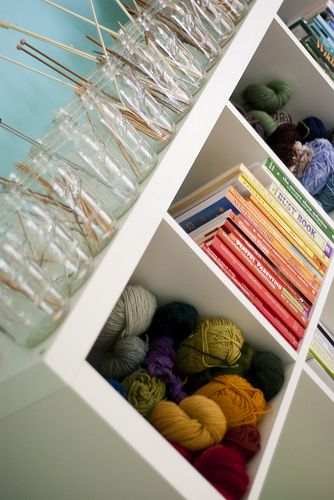 Mason Jar Storage for Knitting Needles - via Sew Liberated blog.