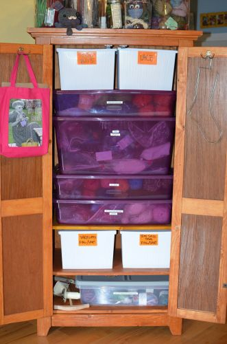 Yarn & Fiber Storage, keeping everything safe in plastic bins - via Must Stash Podcast.