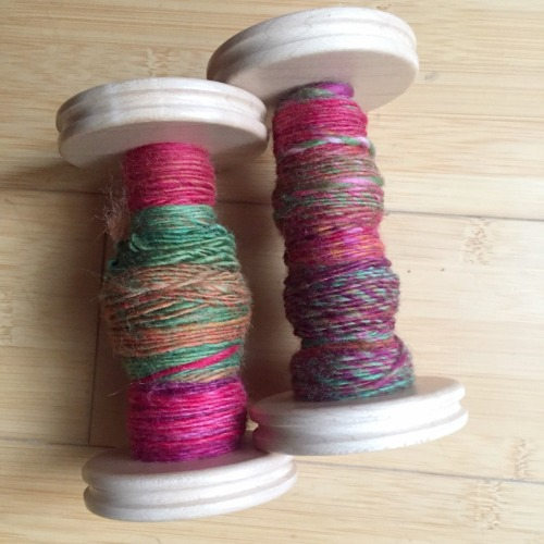 Spinning with dyed fiber, a guest blog post on the Woolery blog by Jillian Moreno.
