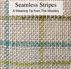 How to weave seamless stripes, a free printable weaving tip from the Woolery.