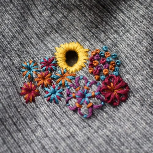 Fixing a holey sweater with embroidery - great visible mending idea from Hunter Hammersen!