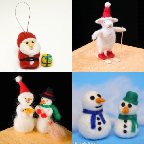 Needle felt Christmas ornaments and decor with these cute kits!