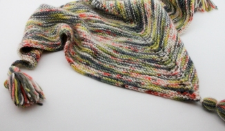 Handknit shawl with tassels