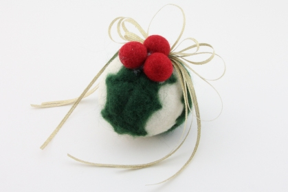 Felted ornament using a dryer ball