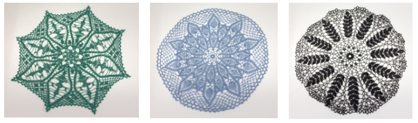 Group of three crochet doilies