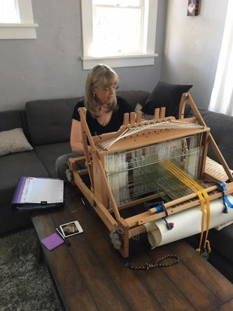 Deb Essen working at her loom