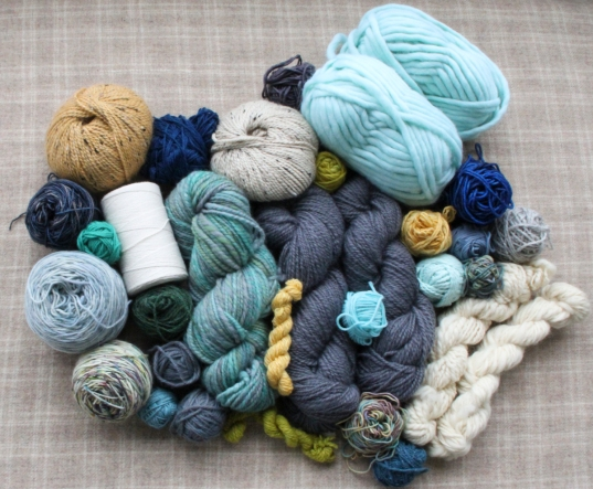 Stash yarn for tapestry weaving project